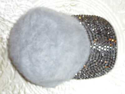 Trendy Diamonte Silver Grey Adjustable Hat/Cap NEW