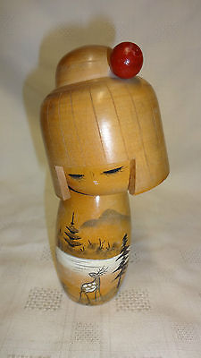Vintage Hand Painted Signed Japanese Wooden Geisha Doll / Figure (ref 3)