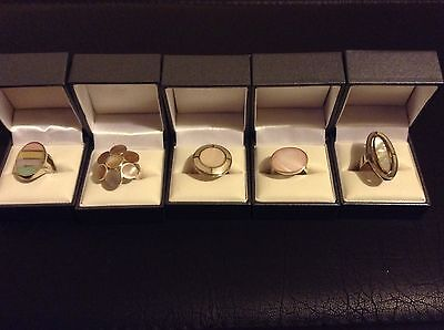 wholesale joblot mother of pearl rings set in 925 silver 5 rings with ring box