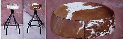Rosie Cow Hide Stool Tan & White