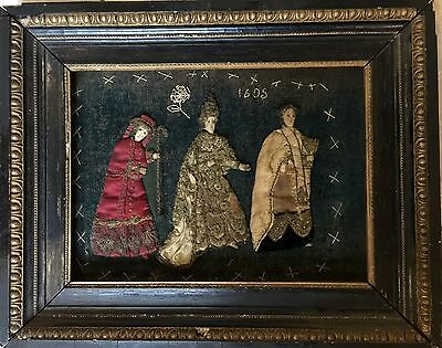 Antique Framed Stumpwork Embroidery Dated 1605 !!