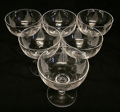 STUART 'WOODCHESTER' CUT CRYSTAL CHAMPAGNE SAUCERS/COUPES Set Of Six