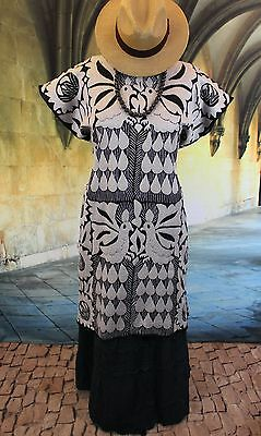 Silver Grey & Black Hand Embroidered Peacock Huipil Dress Jalapa Oaxaca Mexican