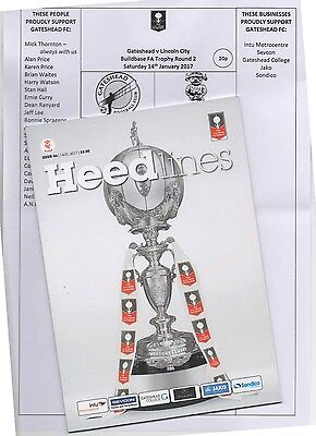 16/17 Gateshead V Lincoln City (1-3) (F.a.trophy 2Nd Round)(Also Team Sheet)