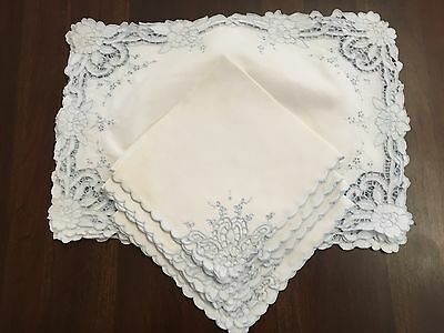 VTG  7 Placemats and 4 Napkins  Cutwork Embroidery