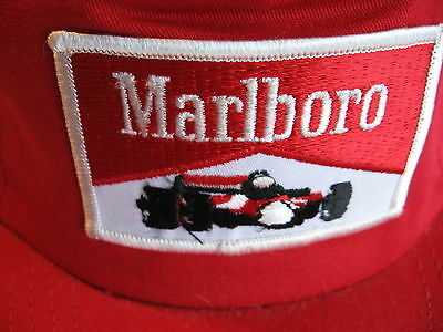Vintage Red Baseball Cap With Marlboro & Indy Car Logo (Adjustable) Made In Usa
