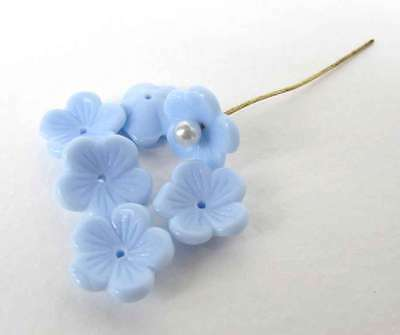 Vintage Glass Flower Beads Blue Petals Daisy Cupped Bead Cap 13mm