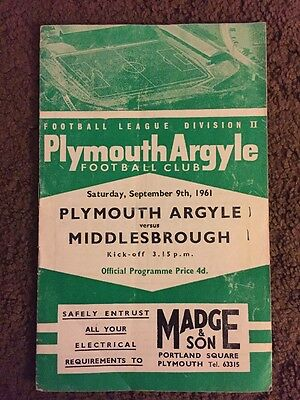 Plymouth V Middlesbrough 9.9.61