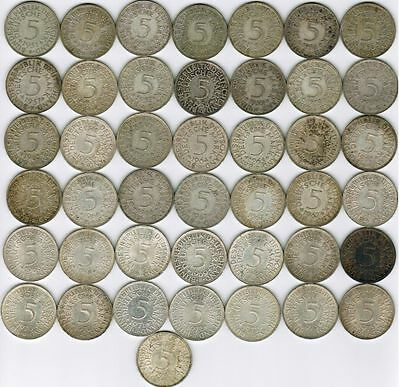 Germany Collection of 43 Silver 5 Mark Coins 1951-1973 All Listed & Different