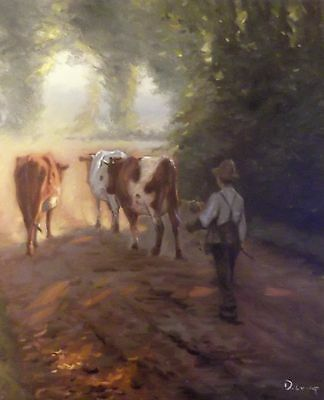 Delightful Oil Painting On Canvas. Cattle. Countryside Scene. D. Long
