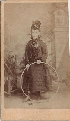 CDV photo Victorian Girl Dress Hat Rolling Hoop Toy Fashion - Beales of Spalding