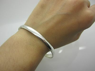 stunning Vintage UNISEX SOLID SILVER GYPSY BANGLE MARK 925 HEAVY & SOLID 18.7 G