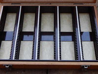 35mm 2 x 2 VINTAGE WOODEN SLIDE FILM PHOTO STORAGE BOX Holds 175 Removable Tray