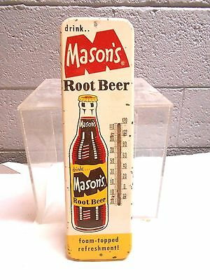 """VINTAGE 30's-40's MASON'S ROOT BEER METAL THERMOMETER SIGN, 16"""""""