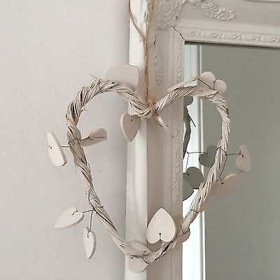 Hanging Rustic White Wicker Hearts Small Shabby Chic Willow Wedding Home Decor.