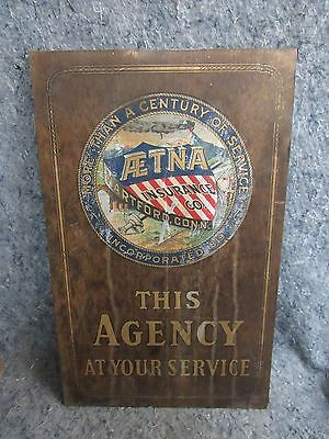 AETNA LIFE & CASUALTY Vintage Fire Insurance Co. Agency Plaque WALL SIGN MARK