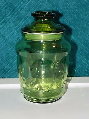 """Vintage Green Glass Jar Canister w/Lid - Approx. 7"""" Tall - Excellent Condition"""