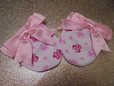 romany gypsy  disney baby REBORN PINK bow minnie mouse SCRATCH mittS  0-3mth