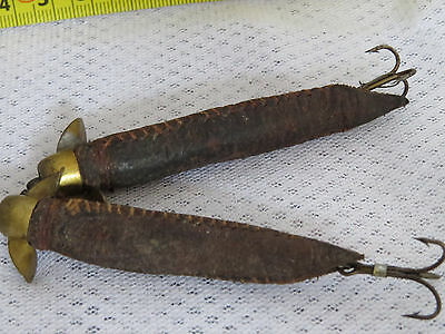 "Two Old Vintage Leather ""eel Tail"" Lures With Mounts"