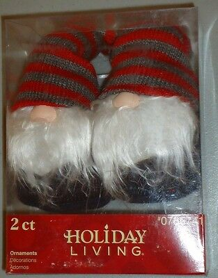 "GNOMES ELVES 6"" plush beanbag Christmas Ornaments Set of 2 w/RED GRAY Hats  NIP"