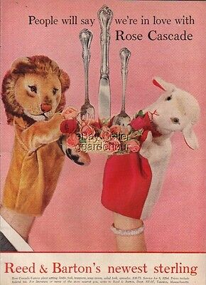 1957 Reed & Barton Sterling Flatware Hand Puppet Ad : Vintage Advertising