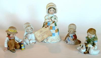 Holly Hobbie 4 Figurines and Bell Mother's Remembrance Rag Doll Geese Train Cat