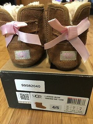 UGG Jesse Pink Bow Infant Slippers Boots Size 4/5 or 12-18 Months