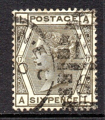 GB QV SG147 6d Grey Plate 17 Used Cat £180 (2)
