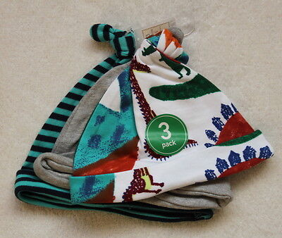 ***BNWT Next baby boy Dino 3 pack knot hats 6-9-12 months***