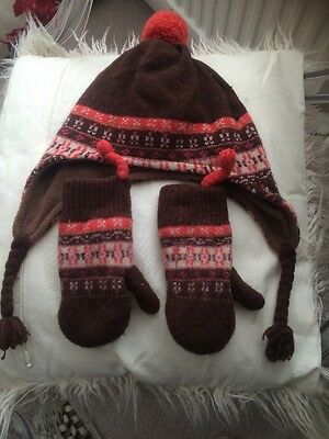 Mini Boden Hat And Mittens Size Medium - Lambswool