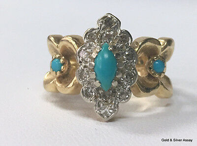 Ornate 14K Yellow Gold Turquoise and Diamond Ring - Size 6-1/4