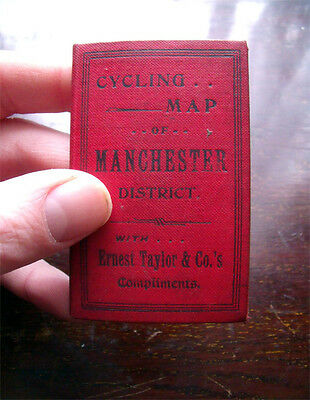 1898 ANTIQUE BICYCLE MAP OF MANCHESTER ERNEST TAYLOR & Co CYCLE BIKE ADVERTISING