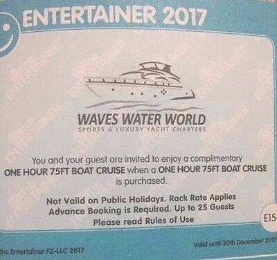 "**Waves Water World 1 Hour 75ft Boat Cruise ENTERTAINER DUBAI 2017""BOGOF Voucher"