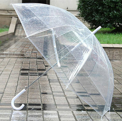 6x White handle clear transparent domed umbrellas for wedding bridesmaid