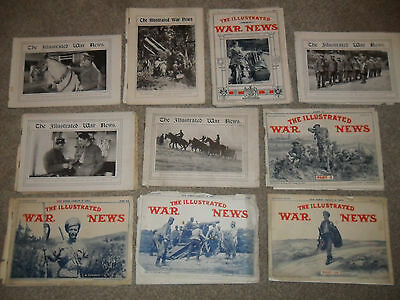 10 Issues Of THE ILLUSTRATED WAR NEWS Magazine From WW1 - Fair Condition