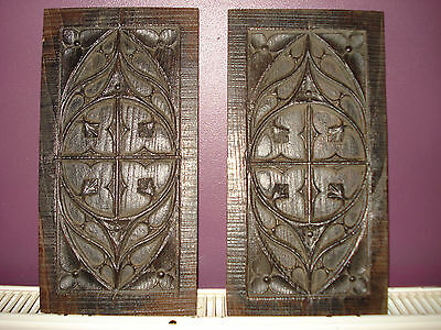 Unusual Antique 19thC church plaque. Carved Wooden Plaque.Hand Made,Pair
