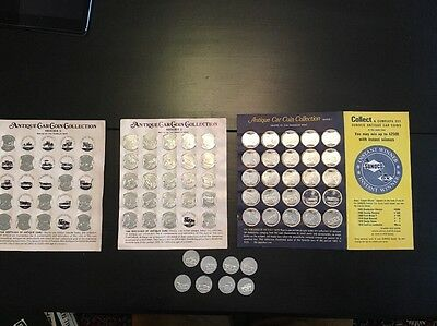1968-1969 Franklin Mint Antique Car Coin Collection,50 coins,cardboard displays
