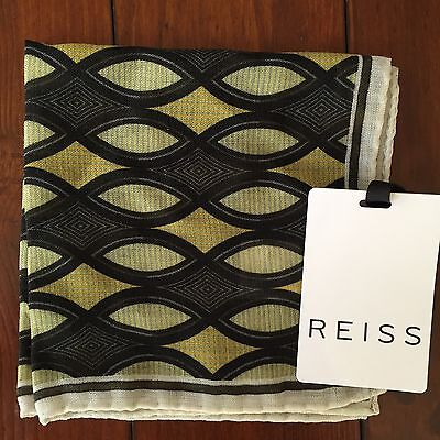 BNWT Reiss London Pocket Square Handkerchief 100% Wool Green Patterned