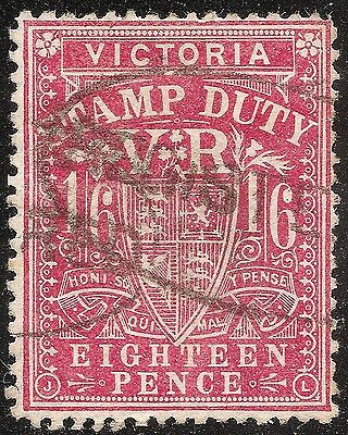 VICTORIA 1886 1/6 Bright Rose-Carmine  Sg 267a postally used registered
