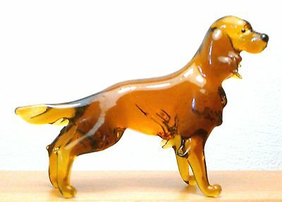 "Hand Blown ""murano"" Glass Collectable Irish Setter Dog Figurine"