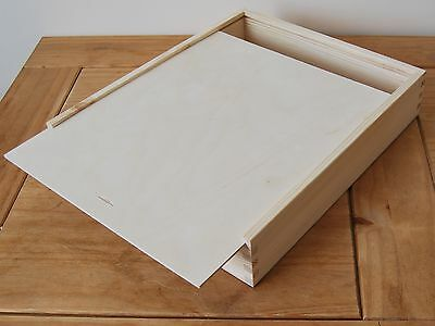 PLAIN WOOD WOODEN BOX ON PHOTO ALBUM OR PICTURES 33x28x6.5cm FOR DECOUPAGE