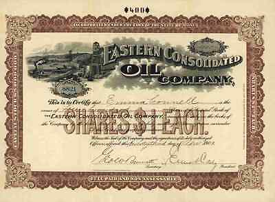 Eastern Consolidated OIL Company April 1902 Maine R.S. Peck Hartford Connecticut