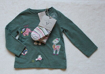 ***BNWT Next girl Khaki Badge top and tights set 3-6 months***
