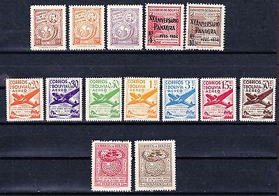 Bolivia 1950 Airmail Stamps Aviation - Mint hinged selection  - (900)