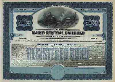 Maine Central Railroad 1935 Maine New Hampshire Vermont 50.000 $ Gold Bond Top