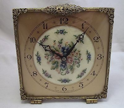 Large Vintage Petite Point Clock Embroidery Gilded Brass Working