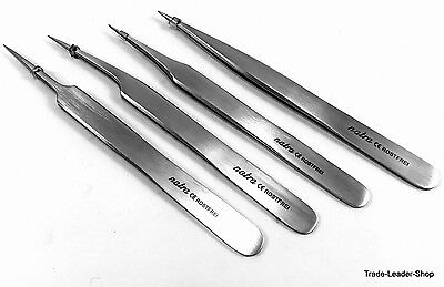 Set 4 tweezers No. 2,3C,5,7 splinter laboratory microscopy surgical jewelry
