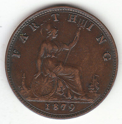 1879 Great Britain Queen Victoria 1 One Farthing.  LARGE 9. Nice Grade.