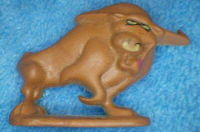 "Vintage Small Rubber Steer Bull 1988 General Foods Toy 2"" Long & 1 1/4"" Tall"