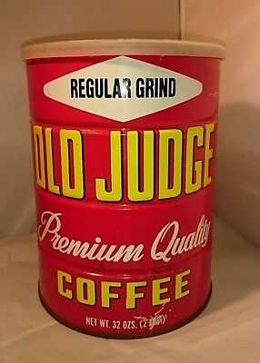 VINTAGE OLD JUDGE COFFEE CAN 2lb ST LOUIS coffee can little owl metal tin decor